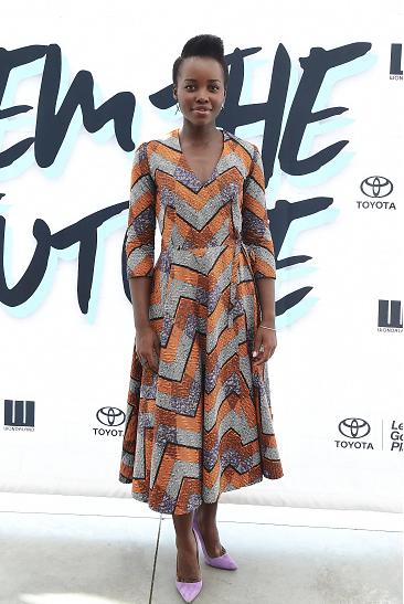Brunch-Lupita N'yongo's Dpipertwins Maliapurple Wrap Dress for Janelle Monáe's Fem The Future Brunch 2