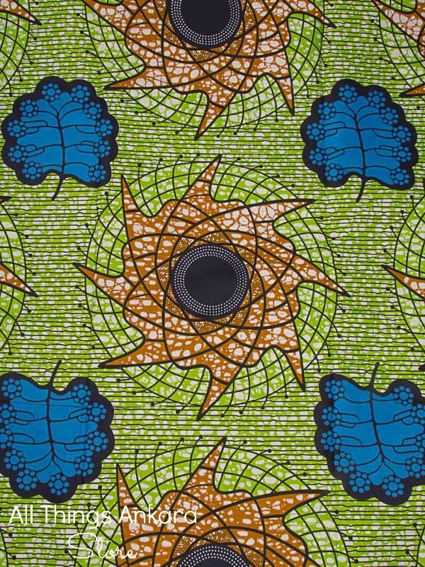 green-blue-brown-leaf-spirals-wax-prints
